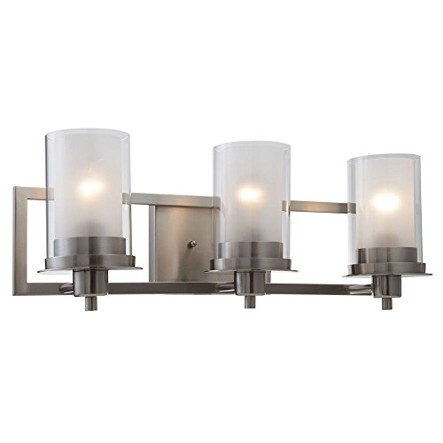Designers Impressions Juno Satin Nickel 3 Light Wall Sconce Bathroom Fixture With Clear And