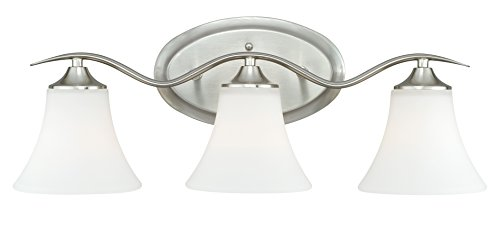 Satin Nickel Ceiling Lights Bathroom Vanity Chandelier: Vaxcel W0096 Cordoba 3-Light Vanity Light, Satin Nickel